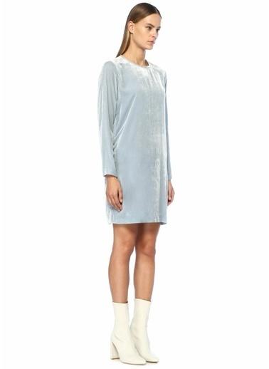 Samsoe & Samsoe Uzun Kollu Mini Kadife Elbise Mavi